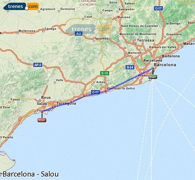 Enlarge map Trains Barcelona to Salou