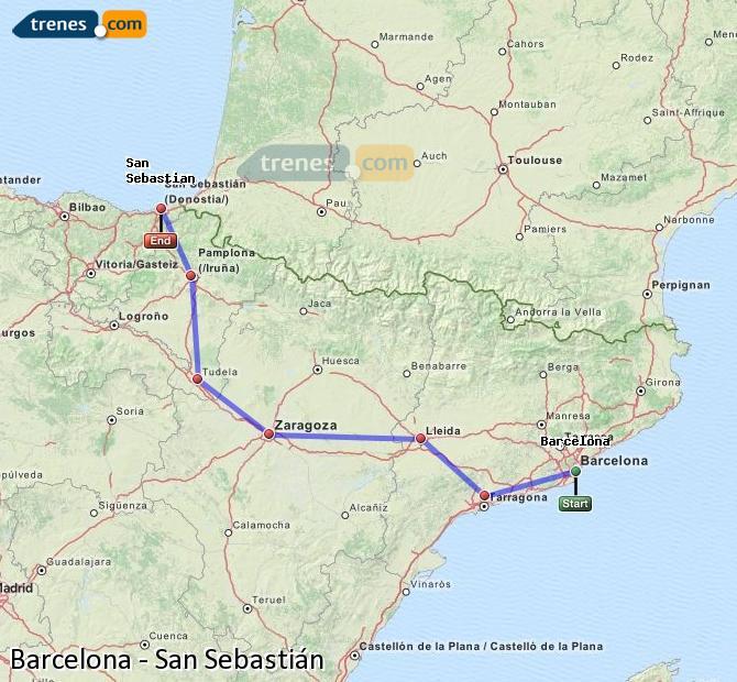 Ampliar mapa Trenes Barcelona San Sebastián