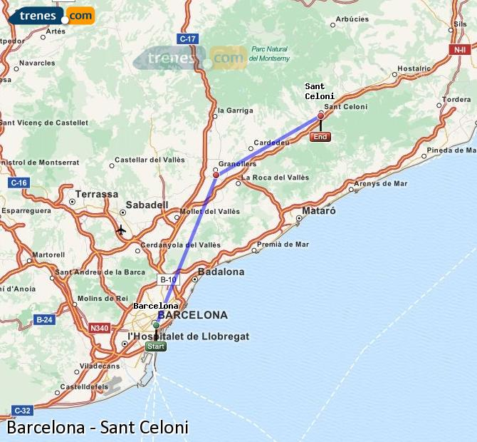 Enlarge map Trains Barcelona to Sant Celoni