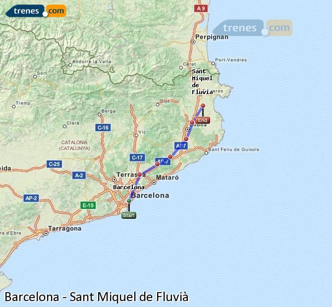 Karte vergrößern Züge Barcelona Sant Miquel de Fluvià