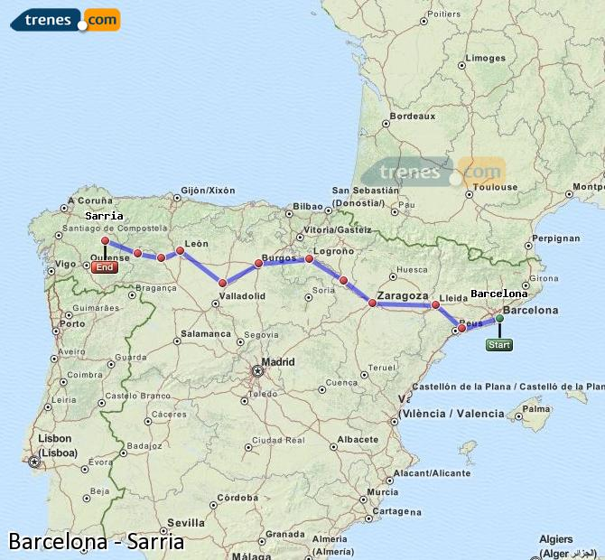 Enlarge map Trains Barcelona to Sarria