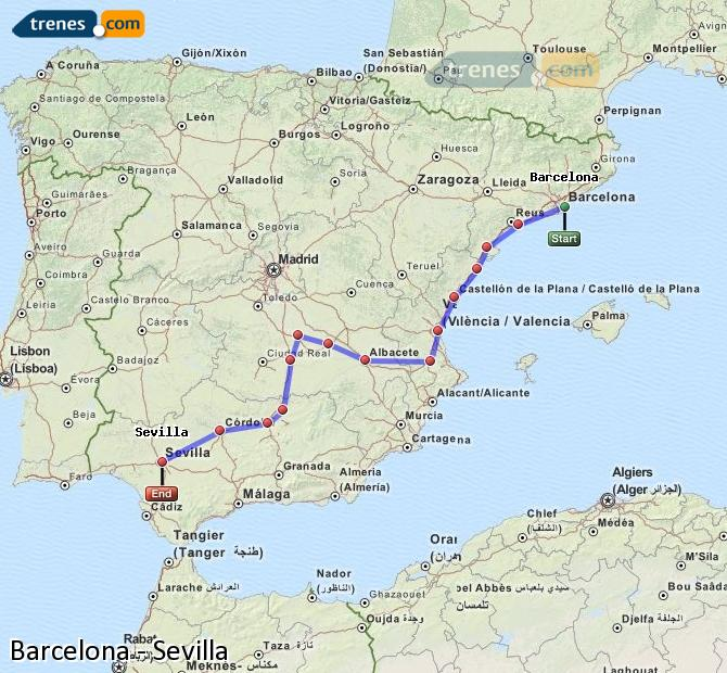 Enlarge map Trains Barcelona to Seville