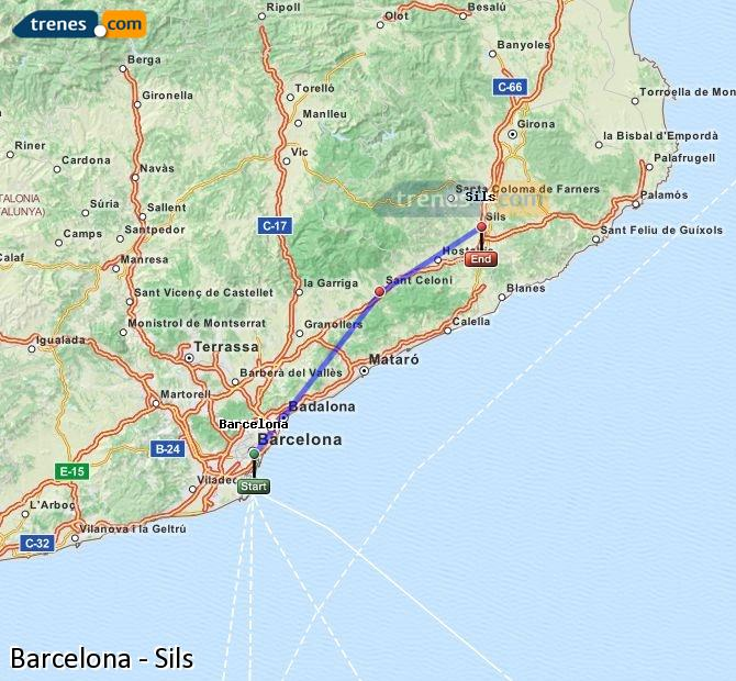 Enlarge map Trains Barcelona to Sils