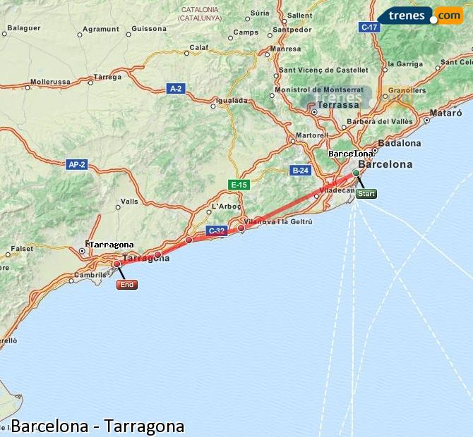 Ampliar mapa Comboios Barcelona Tarragona