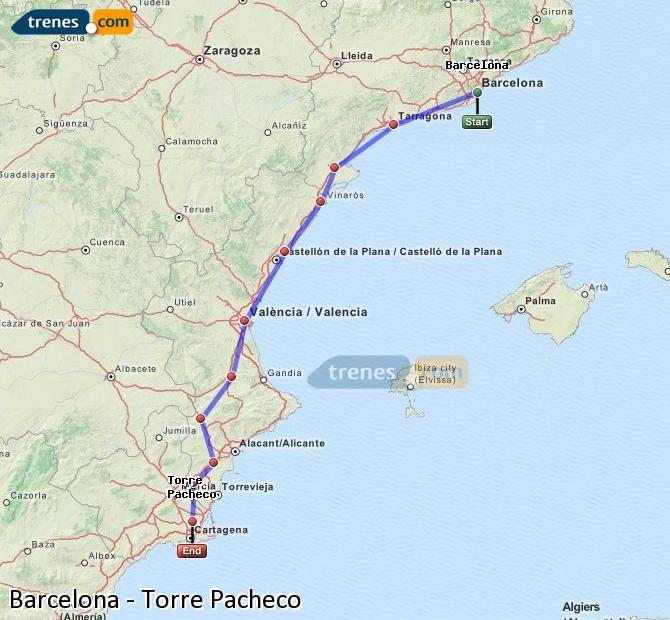 Enlarge map Trains Barcelona to Torre Pacheco