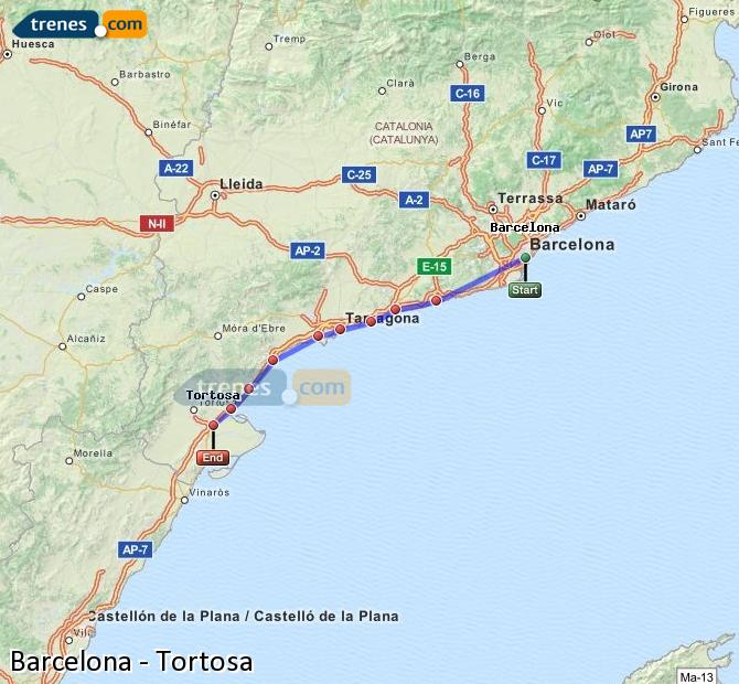 Enlarge map Trains Barcelona to Tortosa