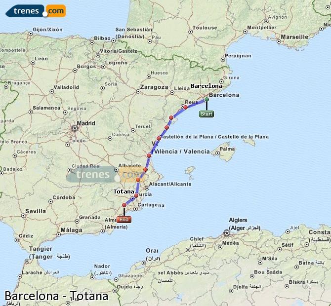 Ampliar mapa Trenes Barcelona Totana