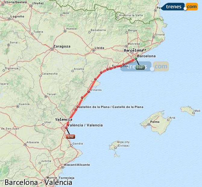 Enlarge map Trains Barcelona to Valencia