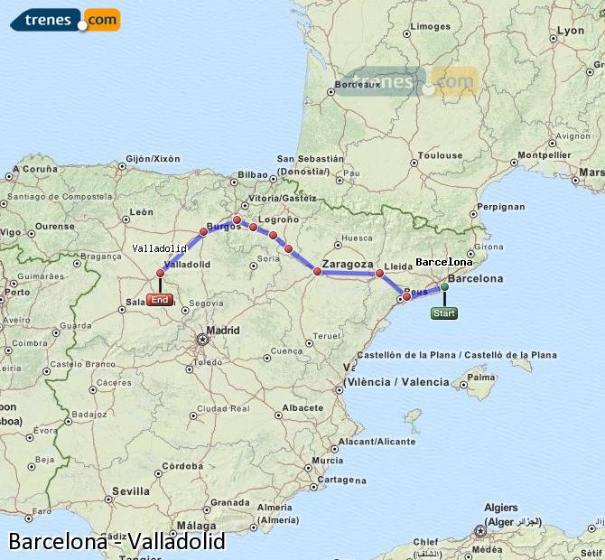 Enlarge map Trains Barcelona to Valladolid