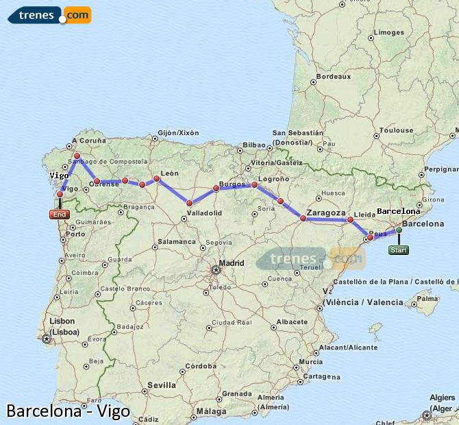 Enlarge map Trains Barcelona to Vigo