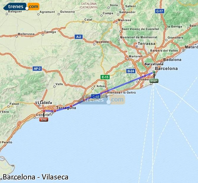 Enlarge map Trains Barcelona to Vilaseca