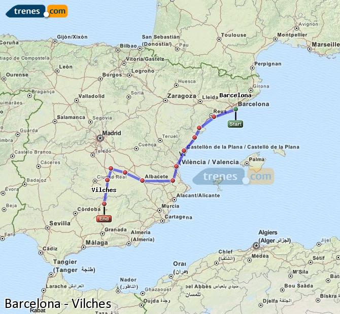 Enlarge map Trains Barcelona to Vilches