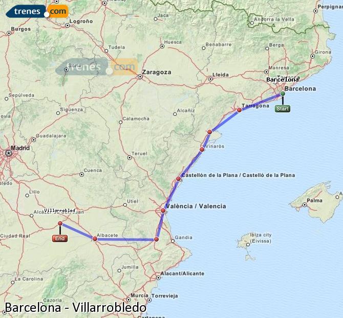 Enlarge map Trains Barcelona to Villarrobledo