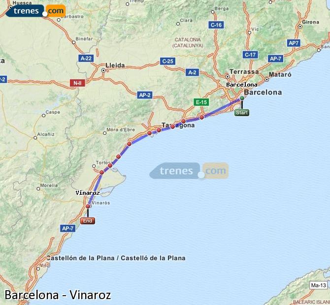 Ampliar mapa Trenes Barcelona Vinaroz