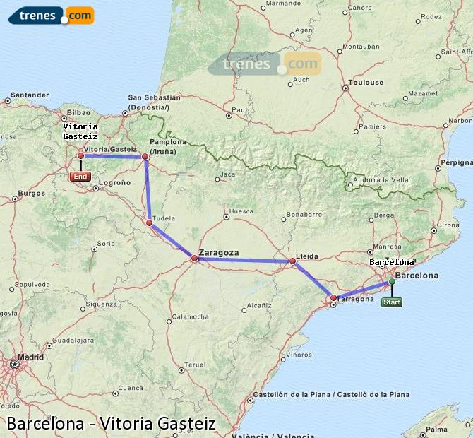 Cheap Barcelona to Vitoria Gasteiz trains tickets from 1780