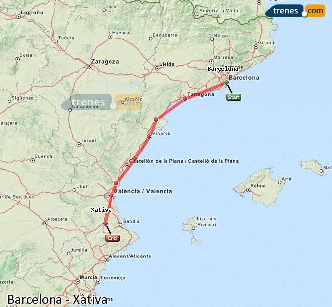 Enlarge map Trains Barcelona to Xativa