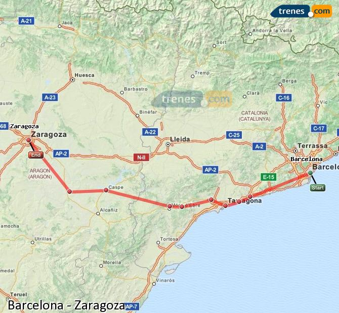 Enlarge map Trains Barcelona to Zaragoza