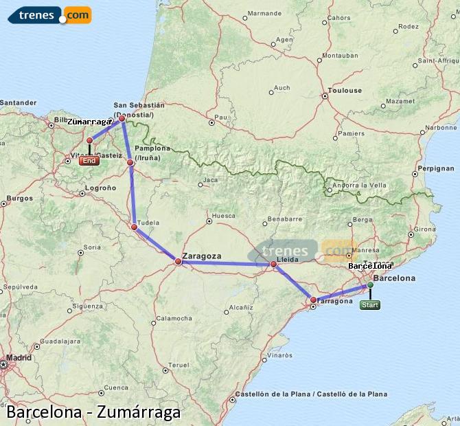 Ingrandisci la mappa Treni Barcellona Zumárraga