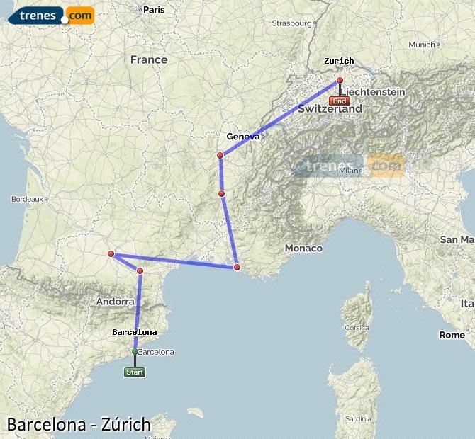 Karte vergrößern Züge Barcelona Zürich
