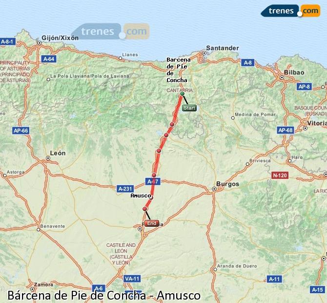 Agrandir la carte Trains Bárcena de Pie de Concha Amusco