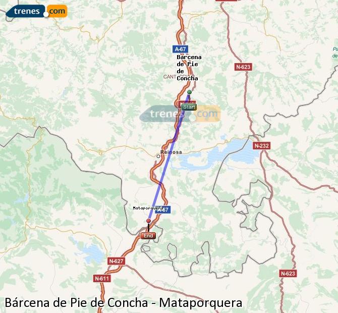 Ingrandisci la mappa Treni Bárcena de Pie de Concha Mataporquera