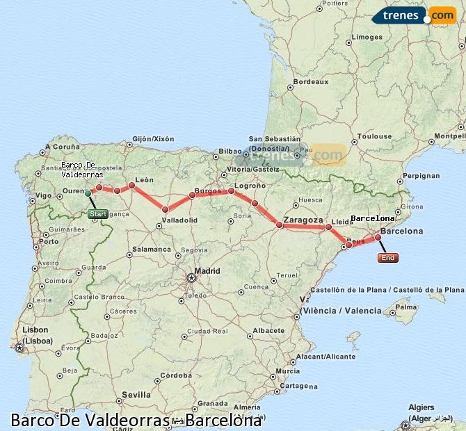 Karte vergrößern Züge Barco De Valdeorras Barcelona