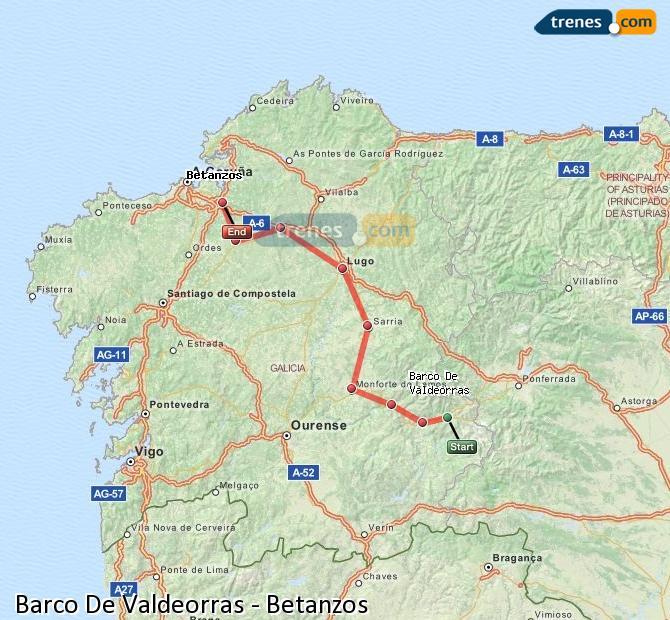 Ingrandisci la mappa Treni Barco De Valdeorras Betanzos
