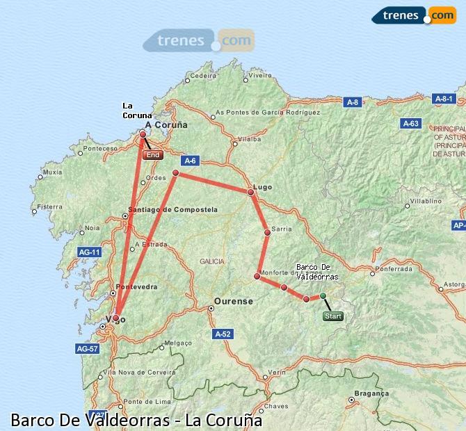 Enlarge map Trains Barco De Valdeorras to La Coruña