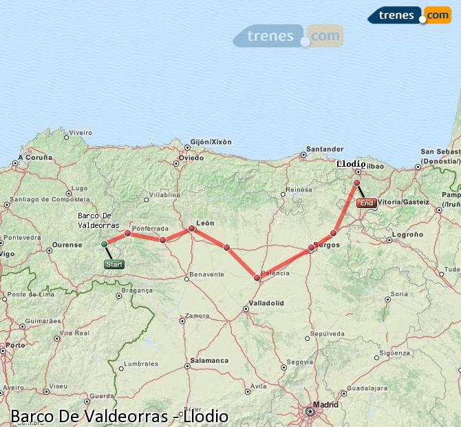 Enlarge map Trains Barco De Valdeorras to Llodio
