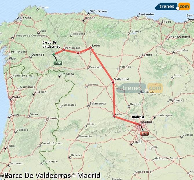 Karte vergrößern Züge Barco De Valdeorras Madrid