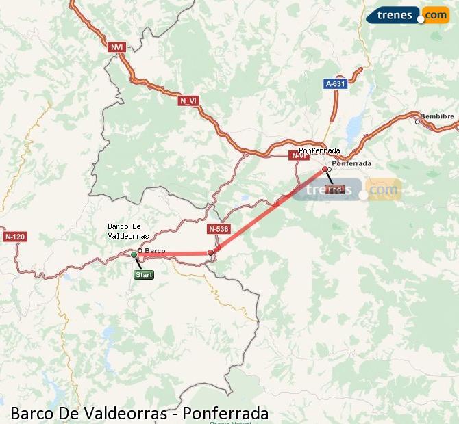 Karte vergrößern Züge Barco De Valdeorras Ponferrada