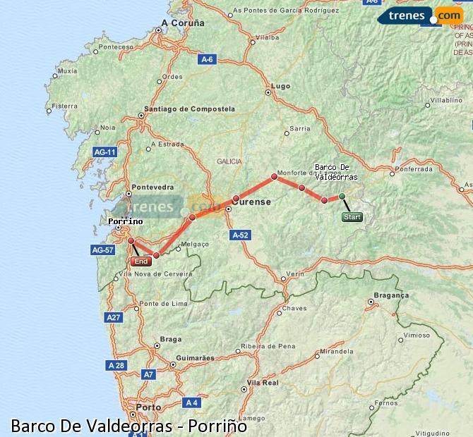 Enlarge map Trains Barco De Valdeorras to Porriño