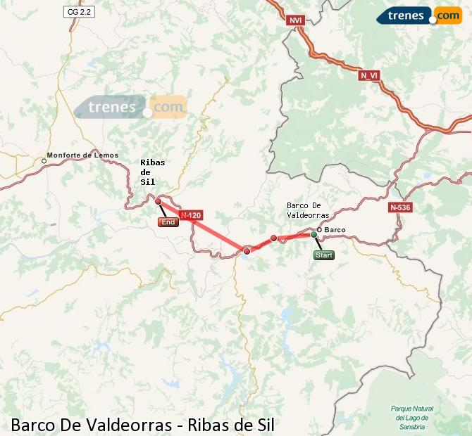Karte vergrößern Züge Barco De Valdeorras Ribas de Sil