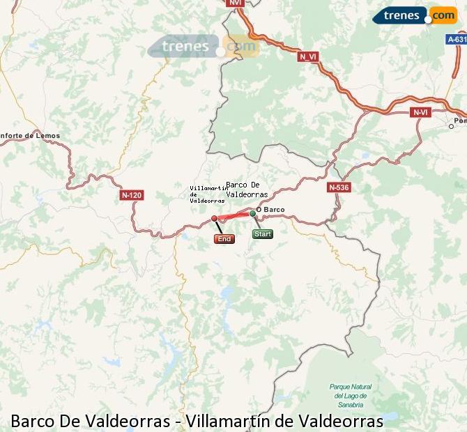 Enlarge map Trains Barco De Valdeorras to Villamartín de Valdeorras