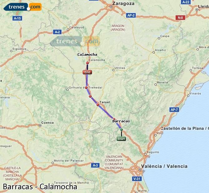 Ingrandisci la mappa Treni Barracas Calamocha