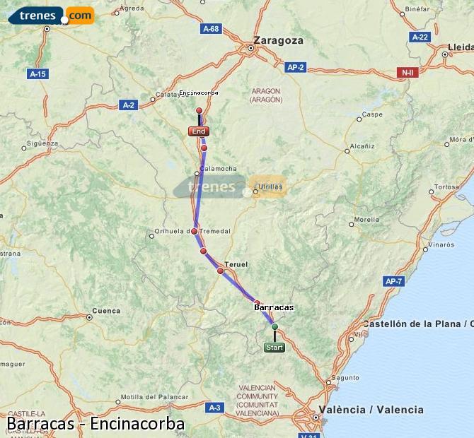Karte vergrößern Züge Barracas Encinacorba