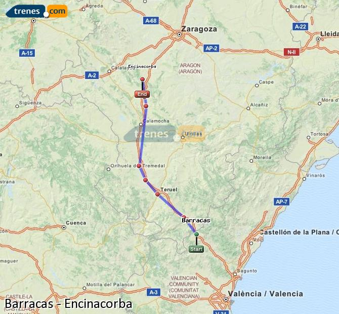 Ingrandisci la mappa Treni Barracas Encinacorba