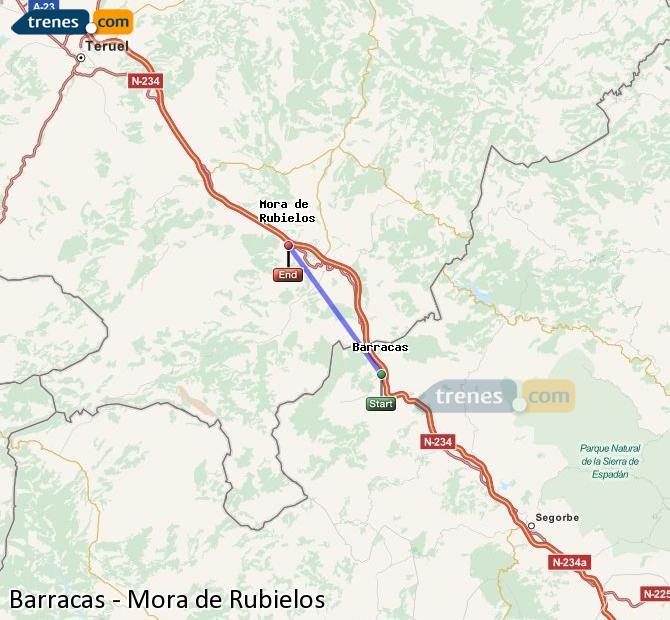 Enlarge map Trains Barracks to Mora de Rubielos