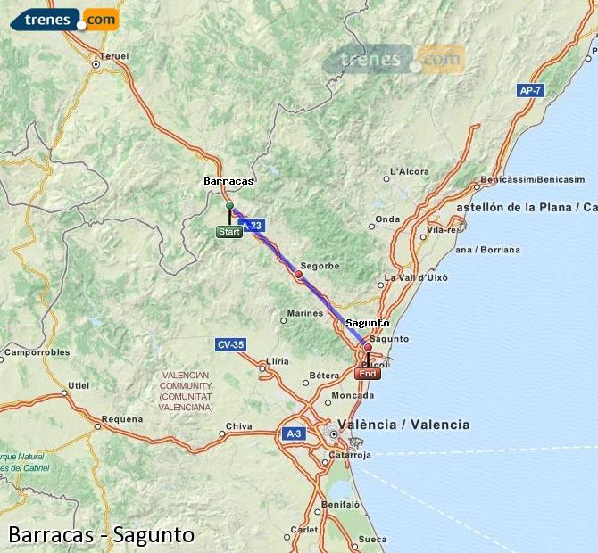 Ingrandisci la mappa Treni Barracas Sagunto
