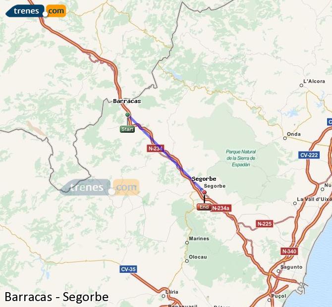 Ampliar mapa Comboios Barracas Segorbe