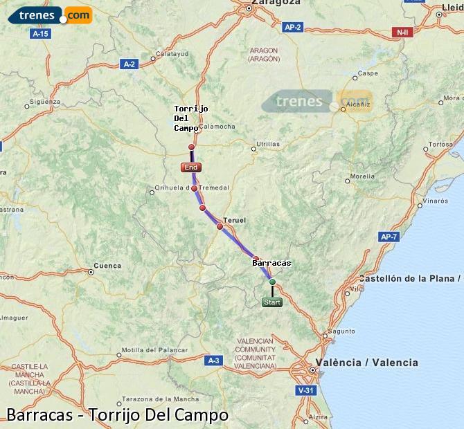 Enlarge map Trains Barracks to Torrijo Del Campo