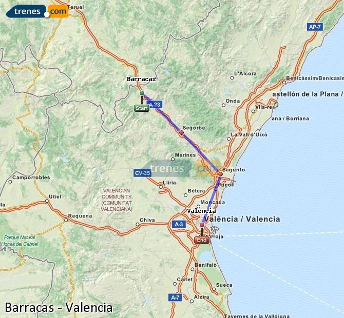 Ingrandisci la mappa Treni Barracas Valencia