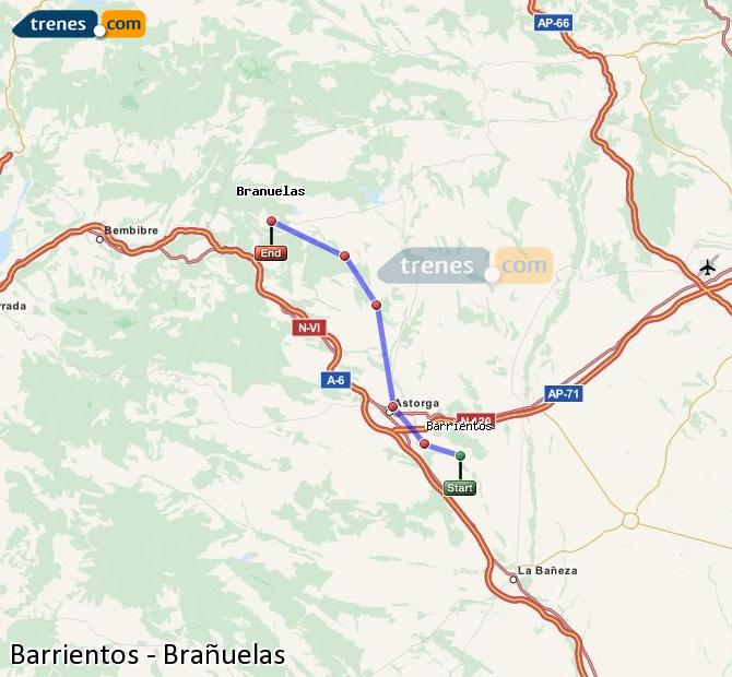 Enlarge map Trains Barrientos to Brañuelas