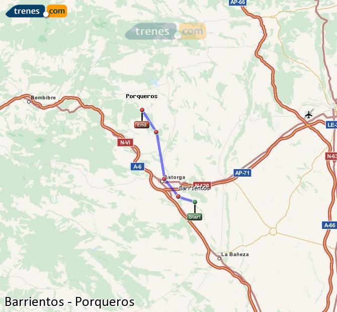 Enlarge map Trains Barrientos to Porqueros