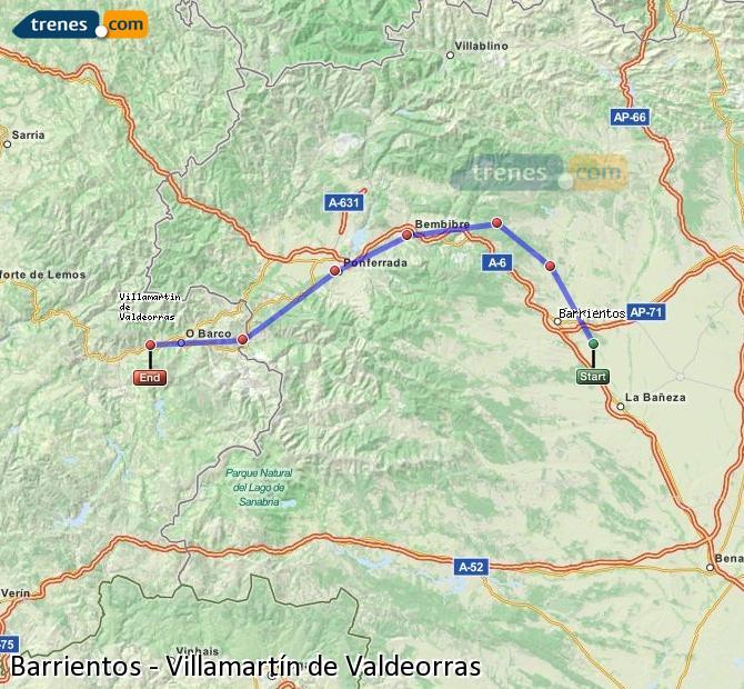 Karte vergrößern Züge Barrientos Villamartín de Valdeorras