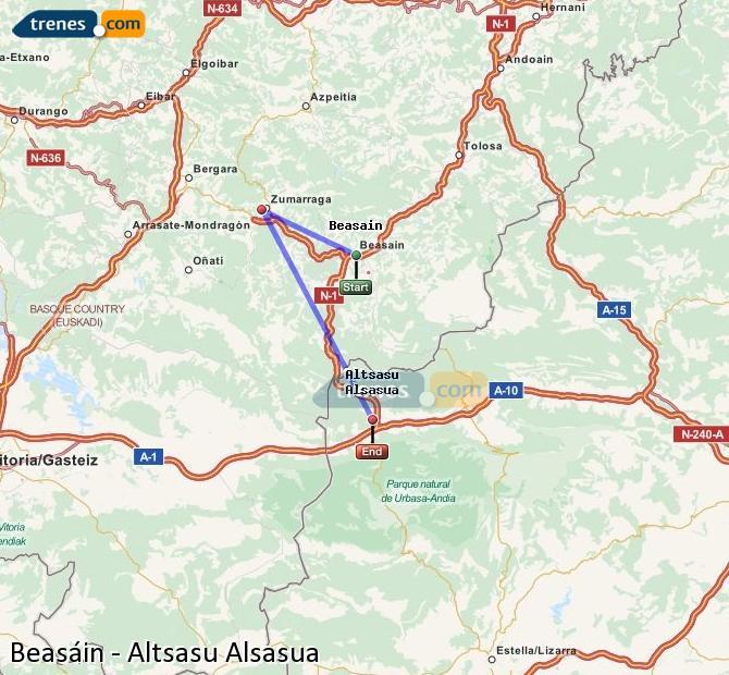 Agrandir la carte Trains Beasáin Altsasu Alsasua