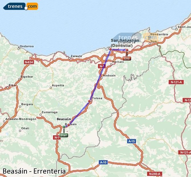 Agrandir la carte Trains Beasáin Errenteria