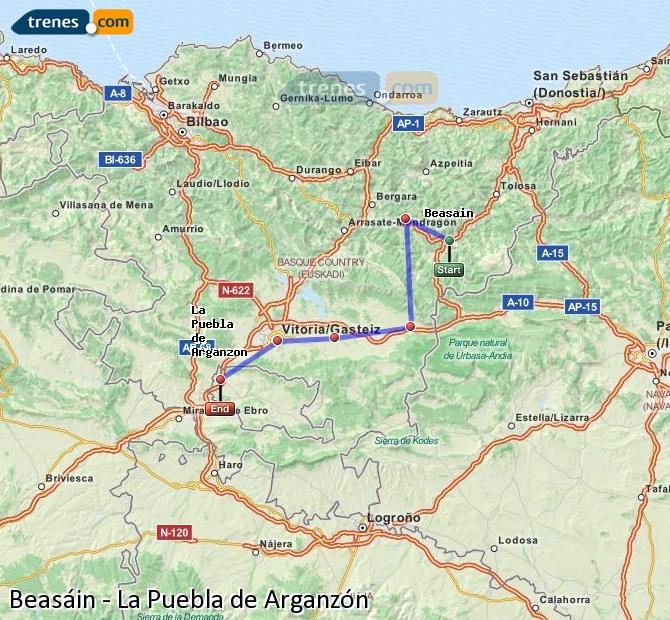 Karte vergrößern Züge Beasáin La Puebla de Arganzón