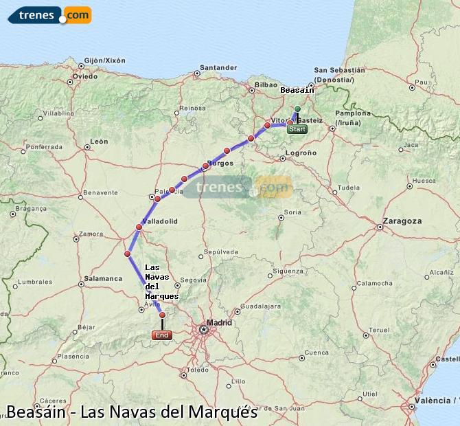 Ampliar mapa Trenes Beasáin Las Navas del Marqués