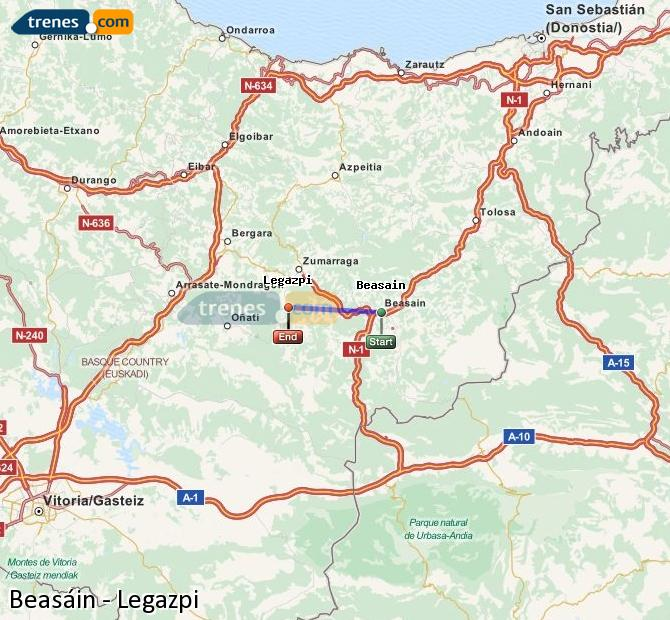 Ingrandisci la mappa Treni Beasáin Legazpi